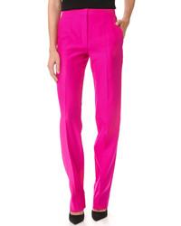 Pantalon large en soie fuchsia Nina Ricci
