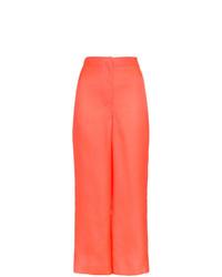 Pantalon large en soie fuchsia Roksanda