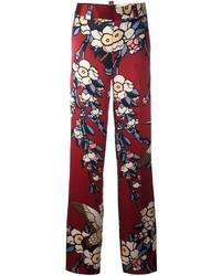 Pantalon large en soie imprimé bordeaux Dsquared2