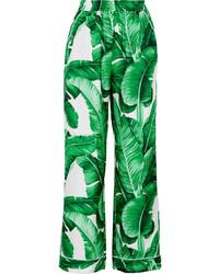 Pantalon large en soie imprimé vert Dolce & Gabbana