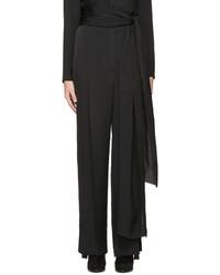 Pantalon large en soie noir Lanvin