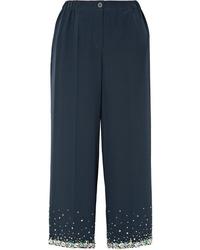 Pantalon large en soie orné bleu marine Miu Miu