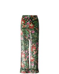 Pantalon large en velours à fleurs vert F.R.S For Restless Sleepers