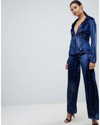 Pantalon large en velours bleu marine Club L London