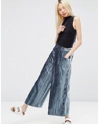 Pantalon large en velours bleu Asos
