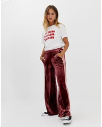 Pantalon large en velours bordeaux Only