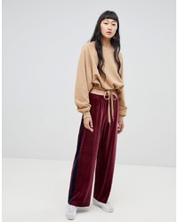 Pantalon large en velours bordeaux Weekday