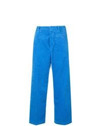 Pantalon large en velours côtelé bleu