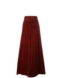 Pantalon large en velours côtelé bordeaux