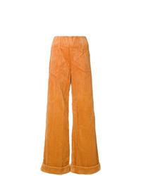 Pantalon large en velours côtelé orange