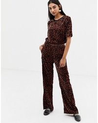 Pantalon large en velours imprimé léopard marron foncé In Wear
