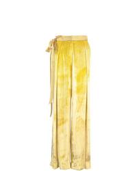 Pantalon large en velours jaune Adam Lippes