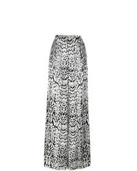 Pantalon large en velours noir et blanc Adam Lippes