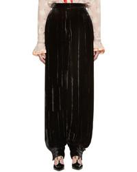 Pantalon large en velours noir Stella McCartney