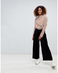 Pantalon large en velours noir Weekday