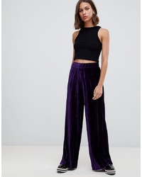 Pantalon large en velours pourpre foncé B.young