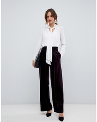 Pantalon large en velours pourpre foncé Y.a.s