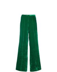 Pantalon large en velours vert Forte Forte
