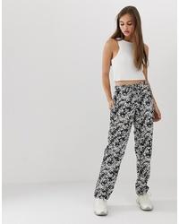 Pantalon large imprimé blanc et noir Noisy May