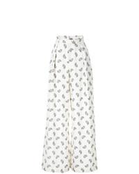 Pantalon large imprimé blanc Zimmermann