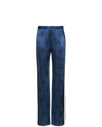 Pantalon large imprimé bleu marine Lanvin
