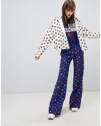 Pantalon large imprimé bleu marine Love Moschino