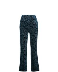 Pantalon large imprimé bleu marine Maison Margiela