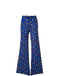 Pantalon large imprimé bleu Love Moschino