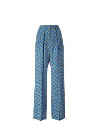 Pantalon large imprimé bleu MSGM