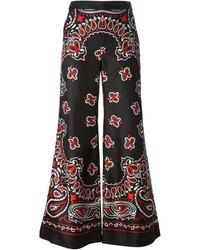 Pantalon large imprimé cachemire noir Moschino