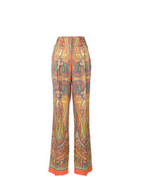 Pantalon large imprimé cachemire orange Etro