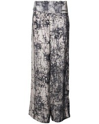 Pantalon large imprimé gris