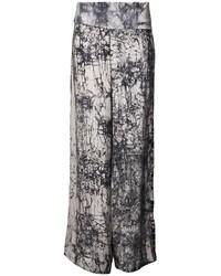 Pantalon large imprimé gris Akira