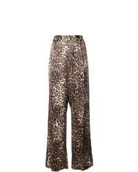 Pantalon large imprimé léopard marron
