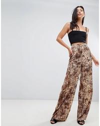 Pantalon large imprimé léopard marron Missguided