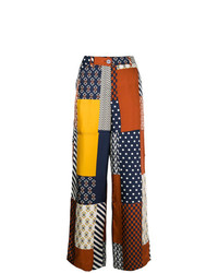 Pantalon large imprimé multicolore Tory Burch