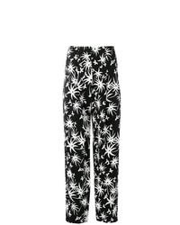 Pantalon large imprimé noir et blanc Lanvin