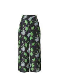 Pantalon large imprimé noir Christian Wijnants