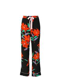 Pantalon large imprimé noir Dvf Diane Von Furstenberg