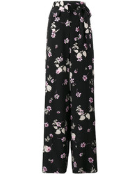 Pantalon large imprimé noir Valentino