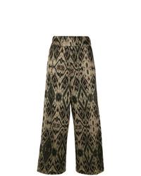 Pantalon large imprimé noir White Sand