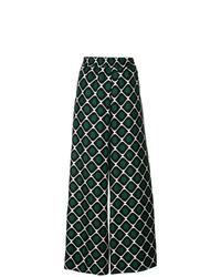 Pantalon large imprimé vert foncé La Doublej