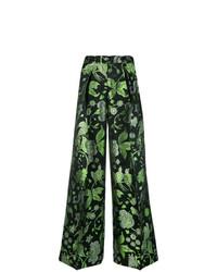 Pantalon large imprimé vert Christian Pellizzari