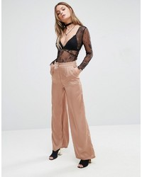 Pantalon large marron clair Glamorous