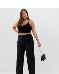 Pantalon large noir PrettyLittleThing Plus