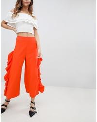 Pantalon large orange Miss Selfridge