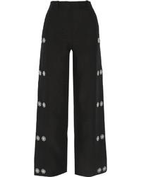 Pantalon large orné noir