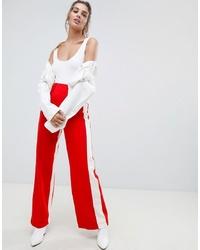 Pantalon large rouge et blanc Bershka