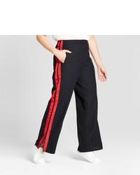 Pantalon large rouge et noir