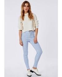 Pantalon slim à carreaux blanc et bleu